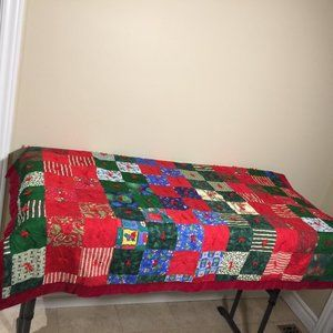 Hand Made Christmas Patchwork Quilt Throw Blanket
